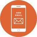 Orange new email design in a flat round button