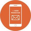 Orange new message design in a flat round button