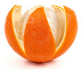 Orange with notched peel Royalty Free Stock Images
