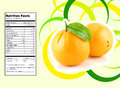 Orange nutrition facts creative design for with label Stock Photos