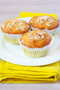 Orange and oat muffins on the plate Stock Photos