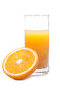 Orange and orange juice bright photo with cutted isolated on white studio shot Royalty Free Stock Photo