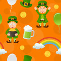 Orange patrick s day seamless pattern a with leprechaun a rainbow a beer mug balloons and money on background useful also as Stock Images