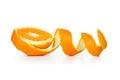 Orange peel spiral on white background Royalty Free Stock Image
