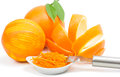 Orange peel and zest scratched by zester on a white background Royalty Free Stock Photo