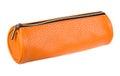 Orange pencil case isolated on white background Royalty Free Stock Photo