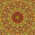 Orange petal garden mandala pattern wallpaper design - geometrical vector meditation background graphic Royalty Free Stock Photo