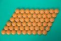 Orange pills on green Royalty Free Stock Photo