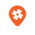 Orange pin with hashtag icon