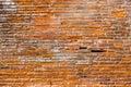 Orange pink old thin bricks work wall. Backgrounds full frame Royalty Free Stock Photo