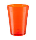 Orange plastic cup isolated on a white background Royalty Free Stock Photo