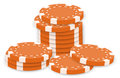 Orange poker chips illustration of the on a white background Stock Images
