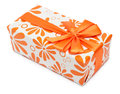 Orange present box Royalty Free Stock Photo