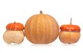 Orange pumpkin round and decorative pumpkins isolated on white background Stock Images