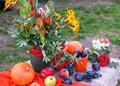 Orange pumpkins, apples and plums on the table with a bouquet of autumn flowers, close-up, side view Royalty Free Stock Photo