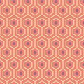 Orange, purple, yellow green meandering geometric hexagons. Seamless vector pattern with hot summer vibe. Great spa