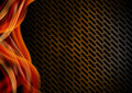 Orange red and metal background with grid black gray abstract metallic waves Royalty Free Stock Images