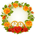 Orange and red rose circle frame Royalty Free Stock Photography