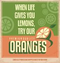 Orange retro creative poster design concept vintage promotional web banner for healthy food fresh organic oranges graphic for adds Royalty Free Stock Photography