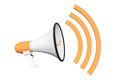 Orange retro megaphone on a white background Stock Image