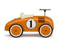 Orange retro toy car number one isolated on white background Royalty Free Stock Photo