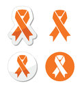 Orange ribbons set isolated white Royalty Free Stock Photos