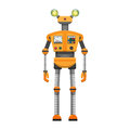 Orange Robot with Big Artificial Eyes Isolated on White