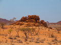 Orange rock formation of damaraland near twyfelfontein namibia Stock Photography