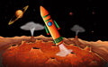 An orange rocket in the outerspace illustration of Royalty Free Stock Images