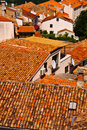 Orange Roof Tiles in old town Stock Photos