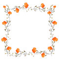 Orange rose border with copy space Royalty Free Stock Photos