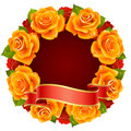 Orange Rose Frame in the shape of round Stock Photo