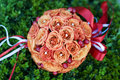 Orange roses round wedding bouquet bridal with brier berries Stock Photo