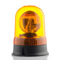 Orange rotating beacon on white reflective background Stock Photography