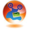 Orange Round Button - Virus Royalty Free Stock Photo