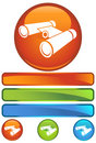 Orange Round Icon - Binoculars Royalty Free Stock Photo
