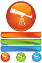 Orange Round Icon - Telescope Royalty Free Stock Photo