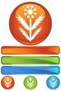 Orange Round Icon - Weed Royalty Free Stock Photo