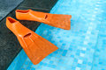 Orange rubber flippers in pool on the side of the swimming Royalty Free Stock Photos