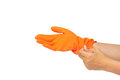 Orange rubber glove Stock Photography