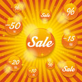 Orange sale buttons retro background on the grey Stock Photography