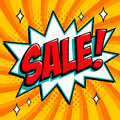 Orange sale web banner. Pop art comic sale discount promotion banner. Big sale background. Decorative background with
