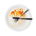 Orange sauce food leftovers isolated Royalty Free Stock Photo