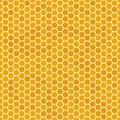 Orange seamless honey combs pattern. Honeycomb texture, hexagonal honeyed comb vector background