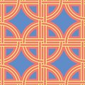 Orange seamless pattern. Bright geometric background with blue and yellow design
