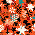 Orange seamless pattern with cute singing birds and summer plants.