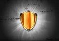 Orange shield on the dark background