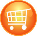 Orange shopping button Royalty Free Stock Photo