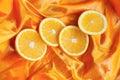 Orange On A Silk Background.