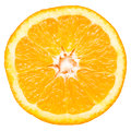 Orange slice closeup details isolated on white background Royalty Free Stock Photo